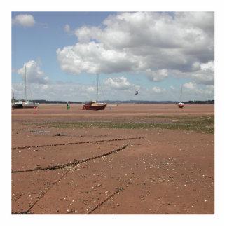 Amarres de marea. Barcos varados. Devon Reino Unid Fotoescultura Vertical