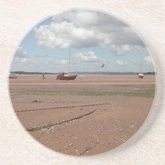 Amarres de marea Barcos varados Devon Reino Unid Posavasos Diseño