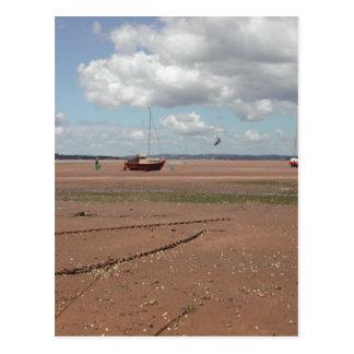 Amarres de marea Barcos varados Devon Reino Unid Tarjeta Postal