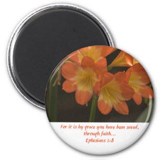 Amaryllis anaranjado imán redondo 5 cm