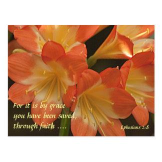 Amaryllis anaranjado tarjeta postal