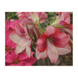 Amaryllis and Poinsettia Holiday Floral Wood Canvas