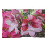 Amaryllis and Poinsettia Red Holiday Flowers Kitchen Towel