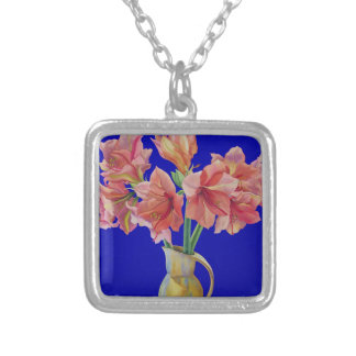 Amaryllis in a jug 2007 silver plated necklace