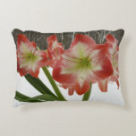 Amaryllis in Snow I Red Holiday Winter Floral Accent Pillow