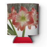 Amaryllis in Snow I Red Holiday Winter Floral Can Cooler