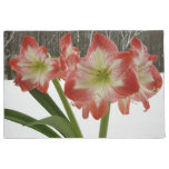 Amaryllis in Snow I Red Holiday Winter Floral Doormat
