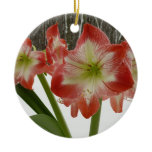 Amaryllis in Snow I Red Holiday Winter Floral Double-Sided Ceramic Round Christmas Ornament