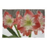 Amaryllis in Snow I Red Holiday Winter Floral Hand Towel