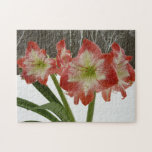 Amaryllis in Snow I Red Holiday Winter Floral Jigsaw Puzzle
