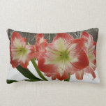 Amaryllis in Snow I Red Holiday Winter Floral Lumbar Pillow