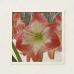 Amaryllis in Snow I Red Holiday Winter Floral Paper Napkin