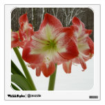Amaryllis in Snow I Red Holiday Winter Floral Room Decal