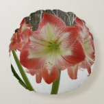 Amaryllis in Snow I Red Holiday Winter Floral Round Pillow
