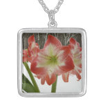 Amaryllis in Snow I Red Holiday Winter Floral Silver Plated Necklace