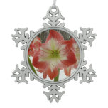 Amaryllis in Snow I Red Holiday Winter Floral Snowflake Pewter Christmas Ornament