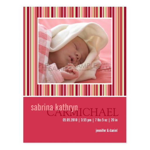 Amaryllis Stripes Pink • Baby Announcement Post Card