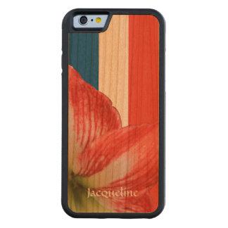 Amaryllis tenaz en el personalizado francés de la funda de iPhone 6 bumper cerezo