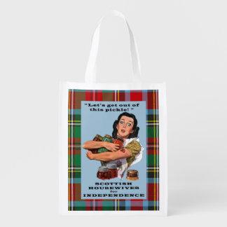 Amas de casa escocesas para el bolso del tartán de bolsa reutilizable