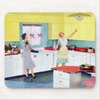Amas de casa retras en cocina mouse pad