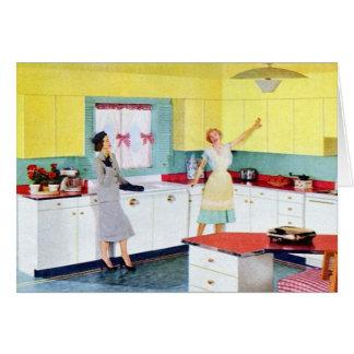Amas de casa retras en cocina tarjeta de felicitación