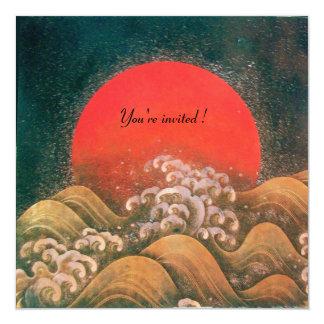 AMATERASU, DIOSA del SOL, marrón negro rojo Invitacion Personalizada