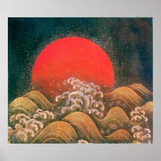 AMATERASU, DIOSA del SOL, marrón negro rojo Impresiones