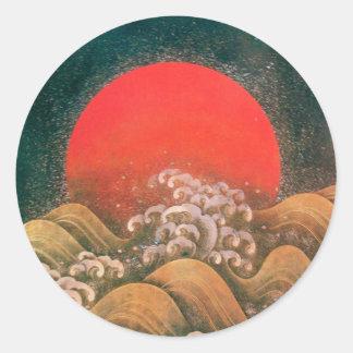 AMATERASU, DIOSA del SOL, marrón negro rojo Pegatinas Redondas