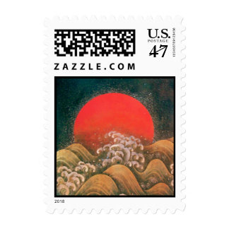 AMATERASU, DIOSA del SOL, marrón negro rojo Timbre Postal