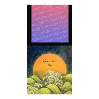 AMATERASU, DIOSA del SOL, negro amarillo verde Tarjeta Fotográfica Personalizada