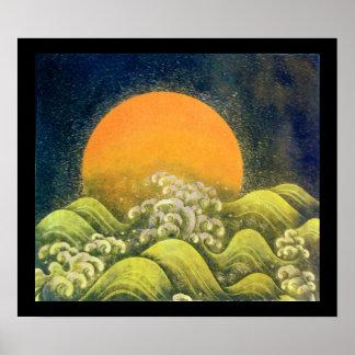AMATERASU, DIOSA del SOL, negro del verde amarillo Poster