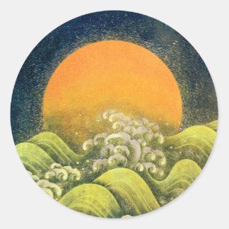 AMATERASU, DIOSA del SOL, negro del verde amarillo Etiqueta Redonda