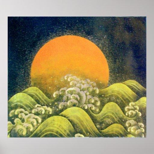 AMATERASU, DIOSA del SOL, negro del verde amarillo Póster