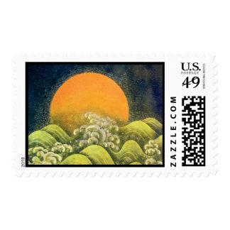 AMATERASU, DIOSA del SOL, negro del verde amarillo Timbre Postal