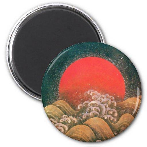 AMATERASU, DIOSA del SOL, oro marrón negro rojo Imán Redondo 5 Cm