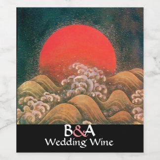 AMATERASU, SUN GODDESS MONOGRAM Red Wedding Wine Label