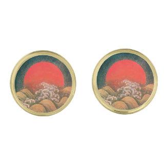 AMATERASU SUN GODDESS Red, Black,Brown Gold Cufflinks
