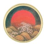 AMATERASU, SUN GODDESS Red Black Brown Gold Finish Lapel Pin