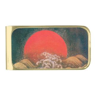 AMATERASU, SUN GODDESS Red Black Brown Gold Finish Money Clip