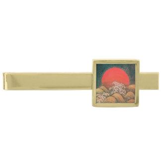AMATERASU, SUN GODDESS Red Black Brown Gold Finish Tie Clip
