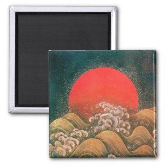 AMATERASU , SUN GODDESS ,red black brown gold Magnet