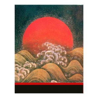 AMATERASU , SUN GODDESS ,red black brown Letterhead