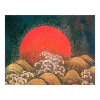 AMATERASU , SUN GODDESS Red Black Brown Letterhead