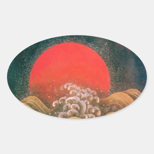 AMATERASU , SUN GODDESS ,red black brown Oval Sticker