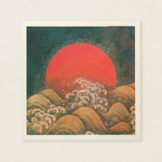 AMATERASU SUN GODDESS Red Black Brown Paper Napkin