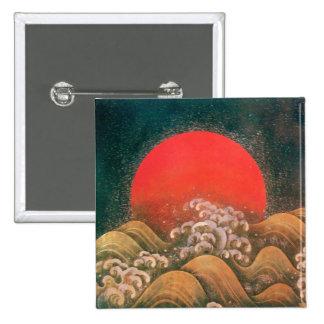 AMATERASU , SUN GODDESS ,red black brown Pinback Button