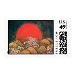 AMATERASU , SUN GODDESS ,red black brown Postage