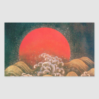 AMATERASU , SUN GODDESS ,red black brown Rectangular Sticker