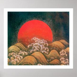 AMATERASU SUN GODDESS red black brown white Poster