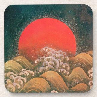 AMATERASU ,SUN GODDESS red brown black Beverage Coaster